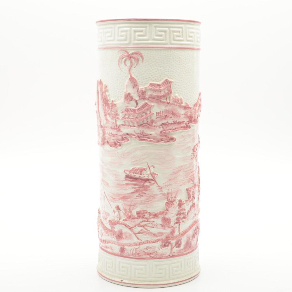 Italian Asian Inspired Ceramic Umbrella Stand