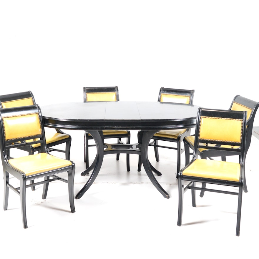 Black Greek Revival Dining Table And Chairs
