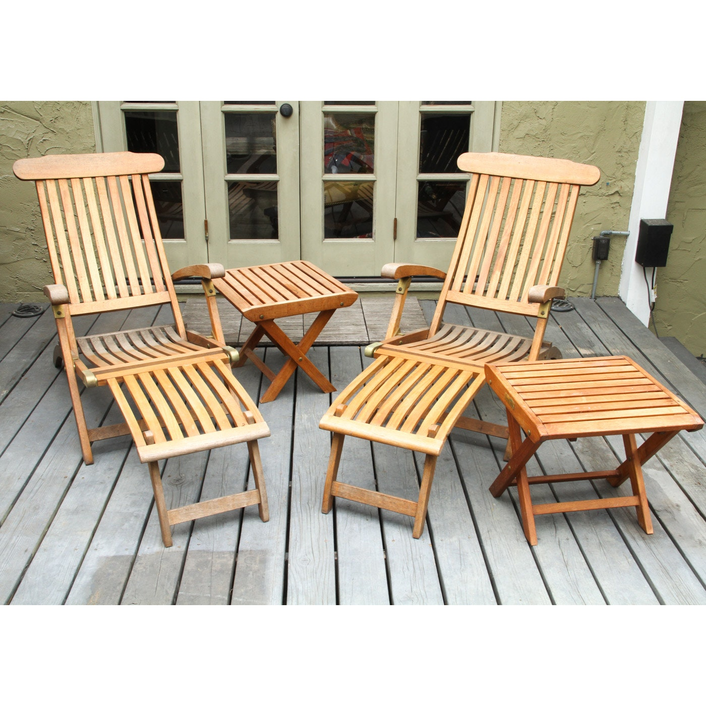 royal teak patio lounge chair set