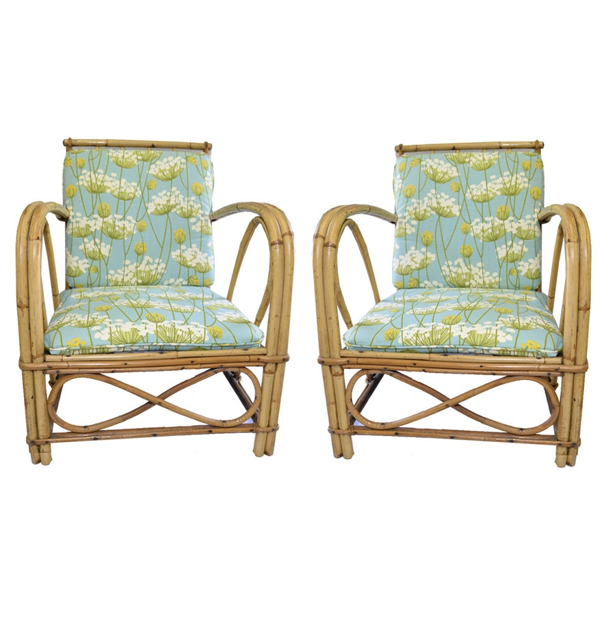 Bamboo Chair With Arms: Vintage Bamboo Arm Chairs With Removable Cushions : EBTH