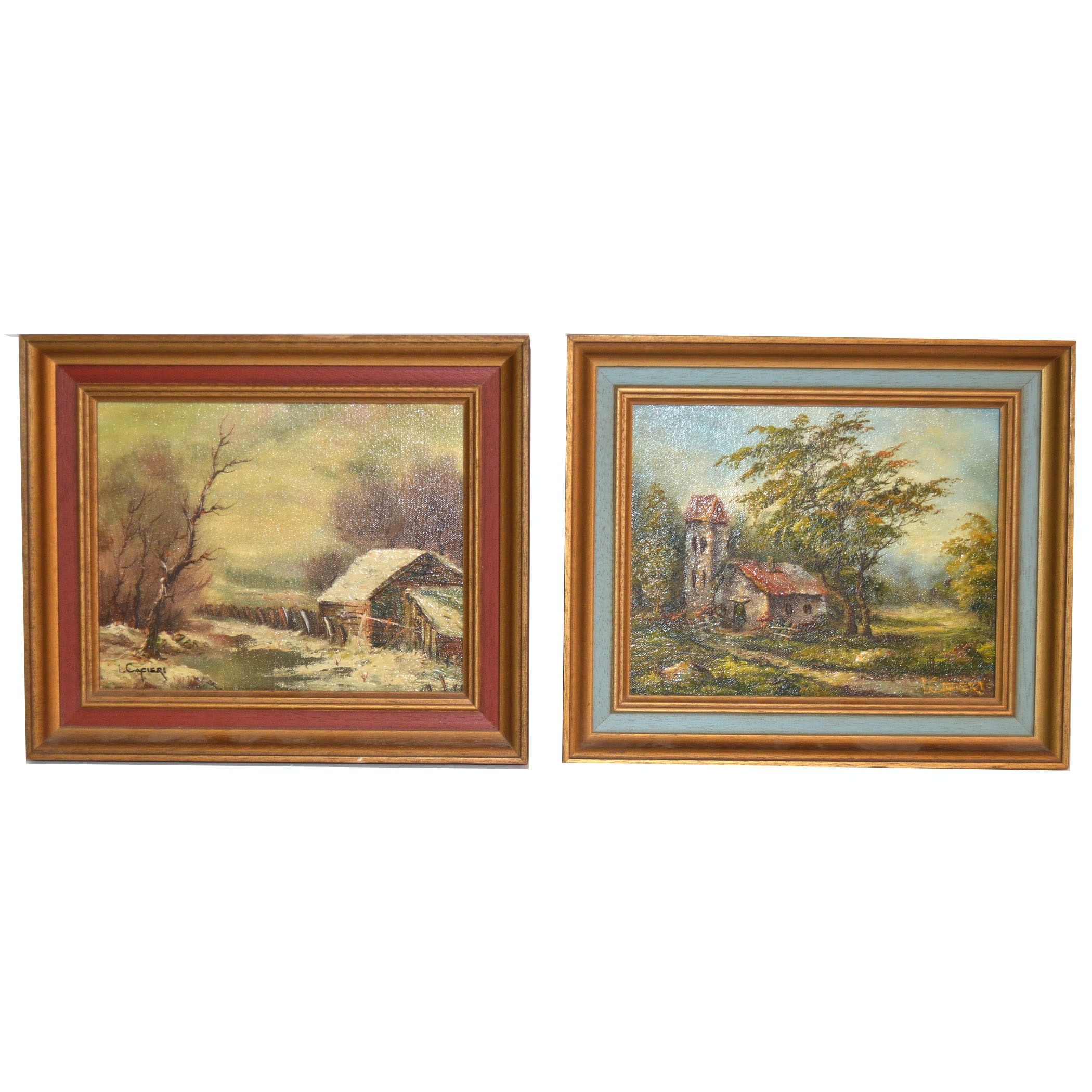 Pair of Vintage Landscape Oil Paintings by Cafieri
