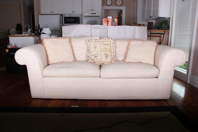 Cream Upholstered Sofa by Vanguard