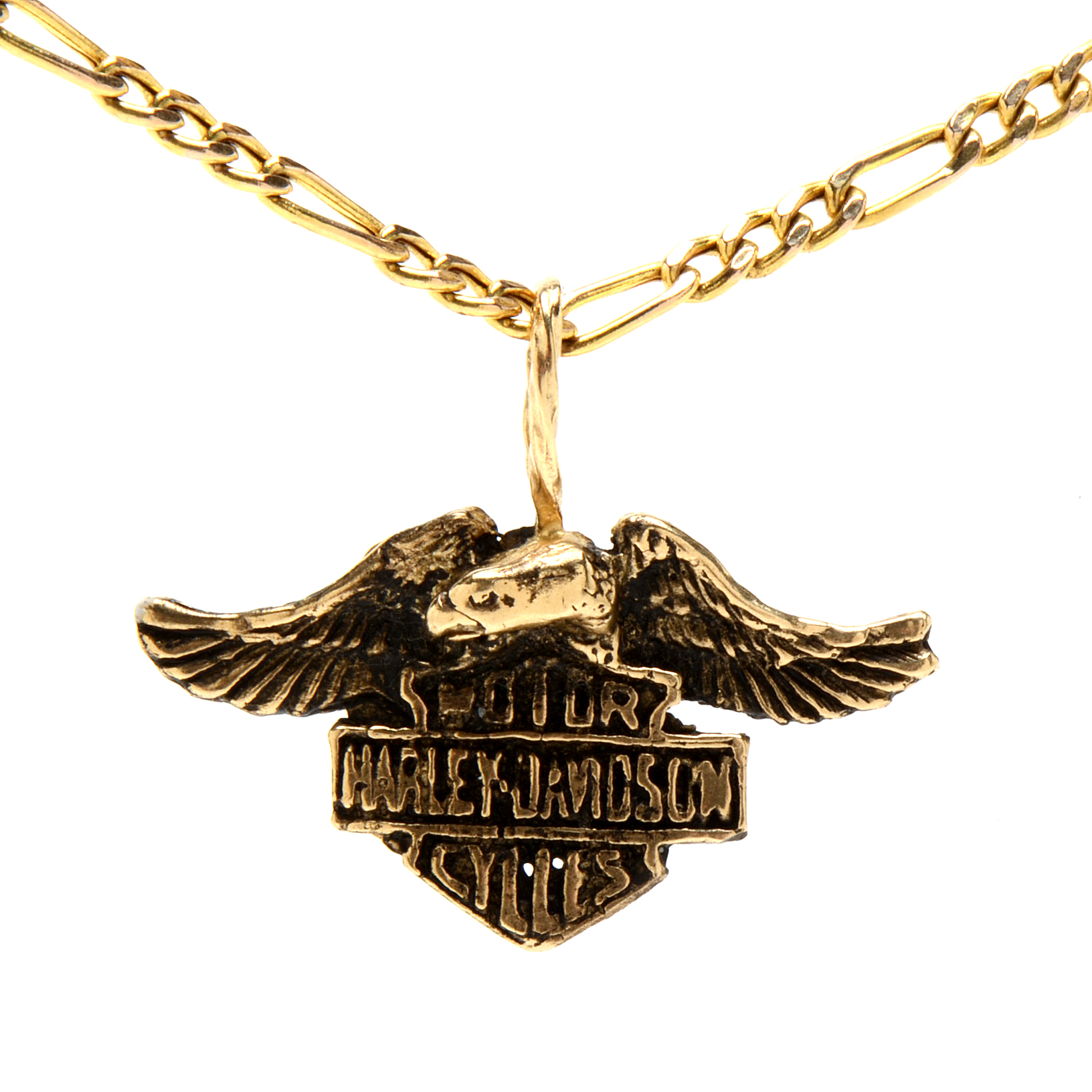 14K Yellow Gold Harley Davidson Pendant on 10K Yellow Gold Chain EBTH
