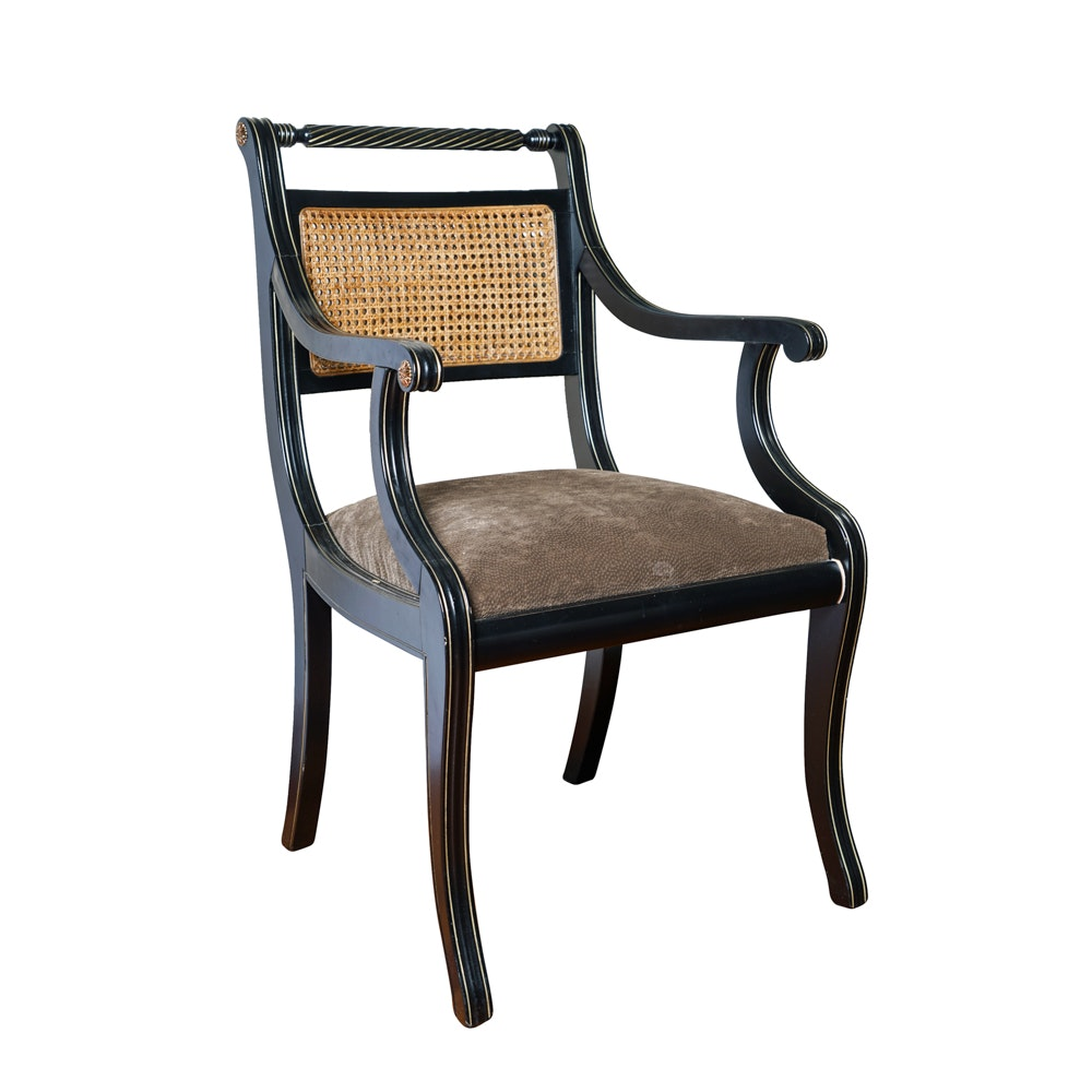 Regency Style Wicker Back Accent Chair