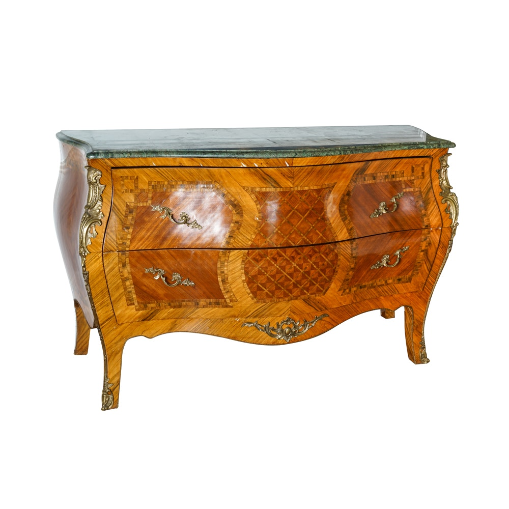 Vintage Louis XV Style Marble Top Bombe Chest