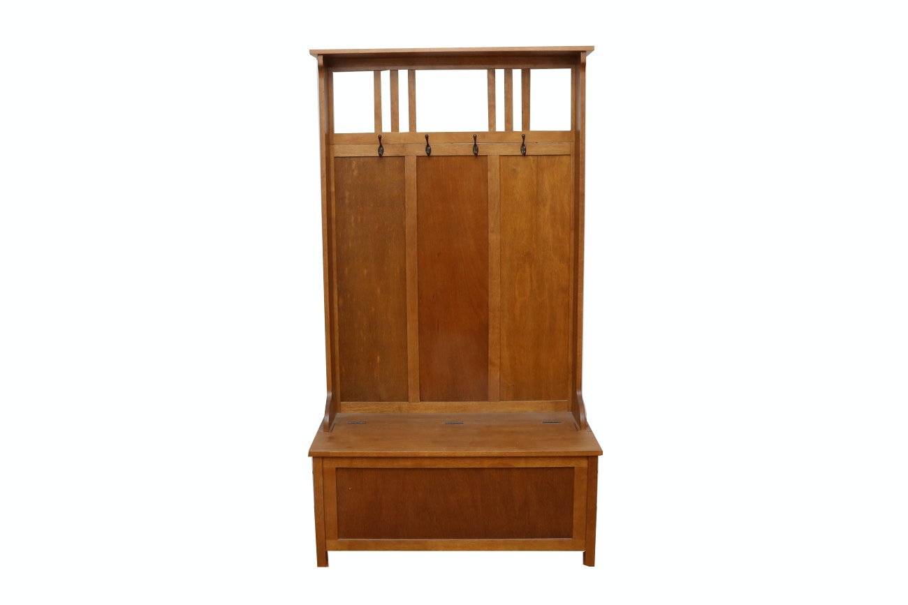 Arts And Crafts Style Oak Hall Tree With Storage Bench