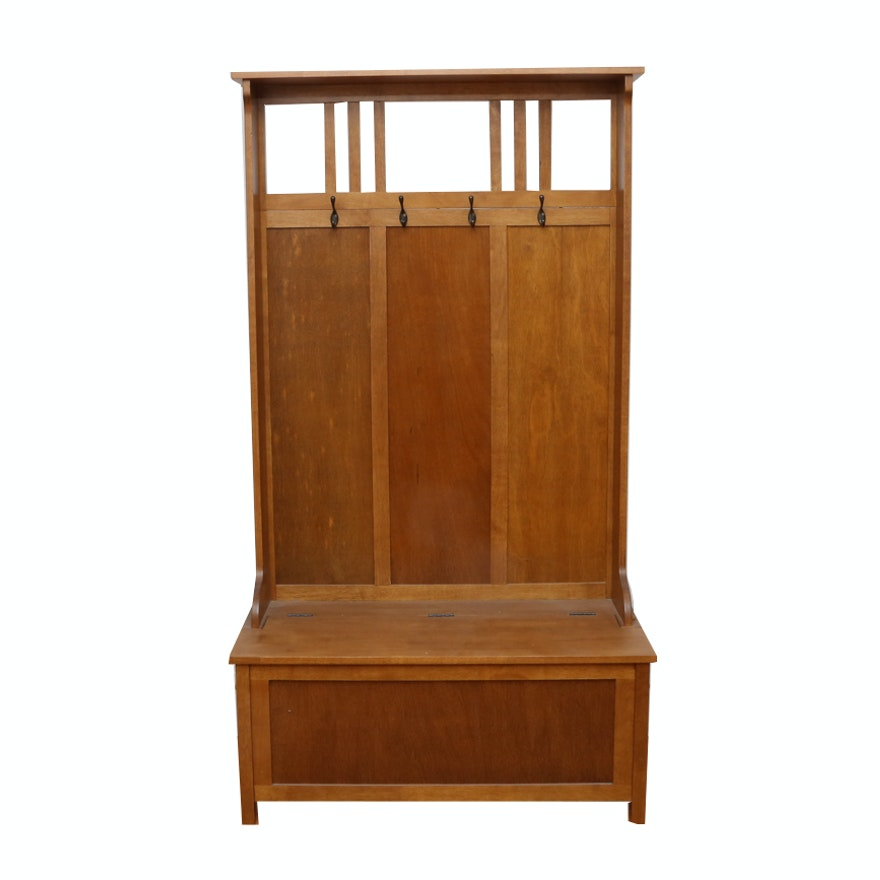 Fabulous Arts And Crafts Style Oak Hall Tree With Storage Bench Theyellowbook Wood Chair Design Ideas Theyellowbookinfo