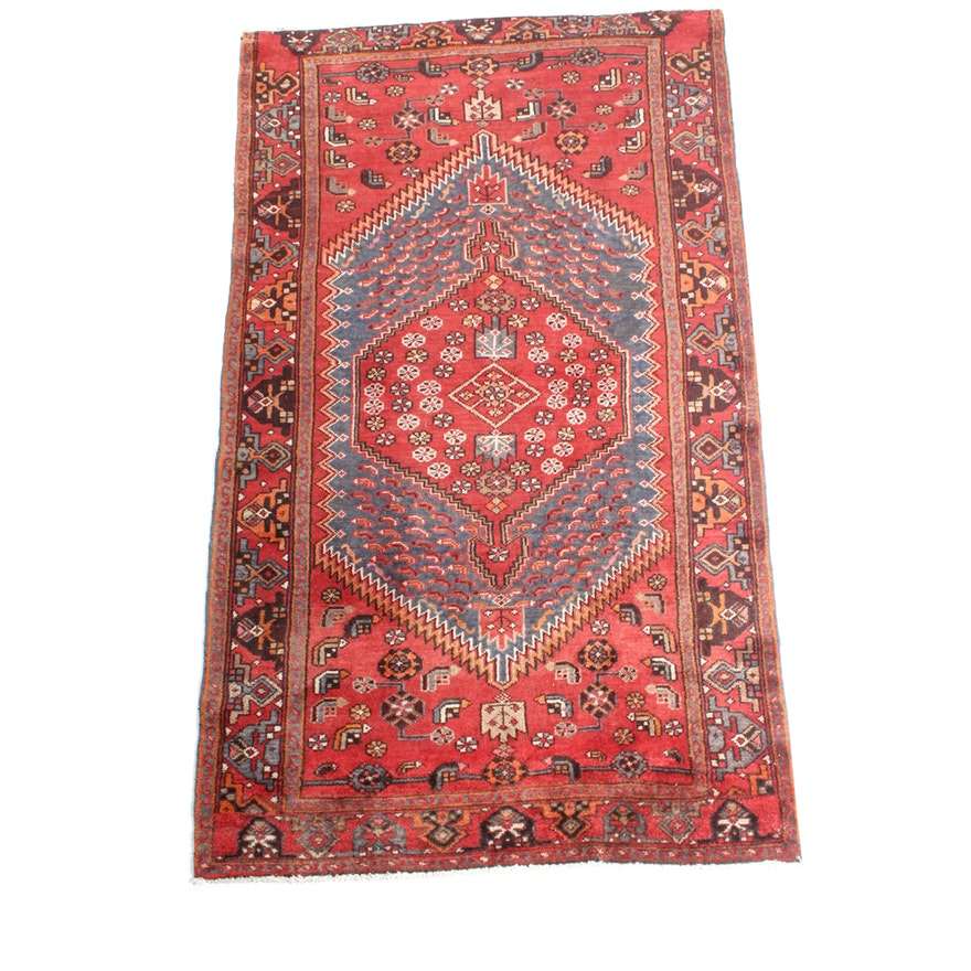 """Hand Knotted Persian Tabriz Wool Area Rug Ebth: 4'2"""" X 7'3"""" Semi-Antique Hand Knotted Persian Malayer Area"""