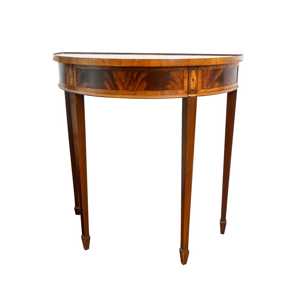 Inlaid Hekman Hepplewhite Style Demilune Table