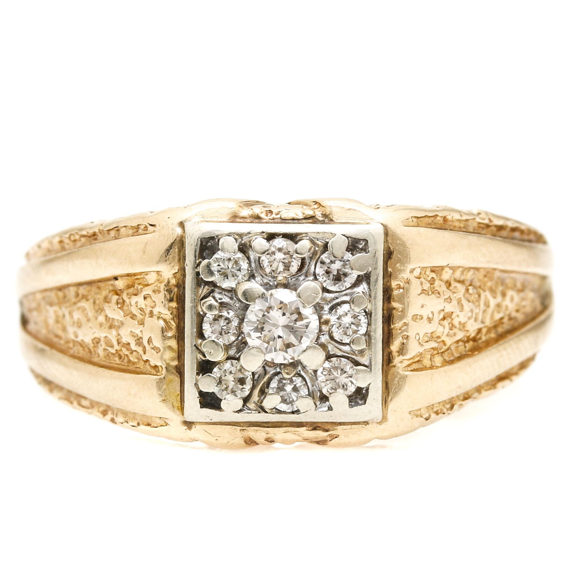 14K Yellow Gold Diamond Signet Ring