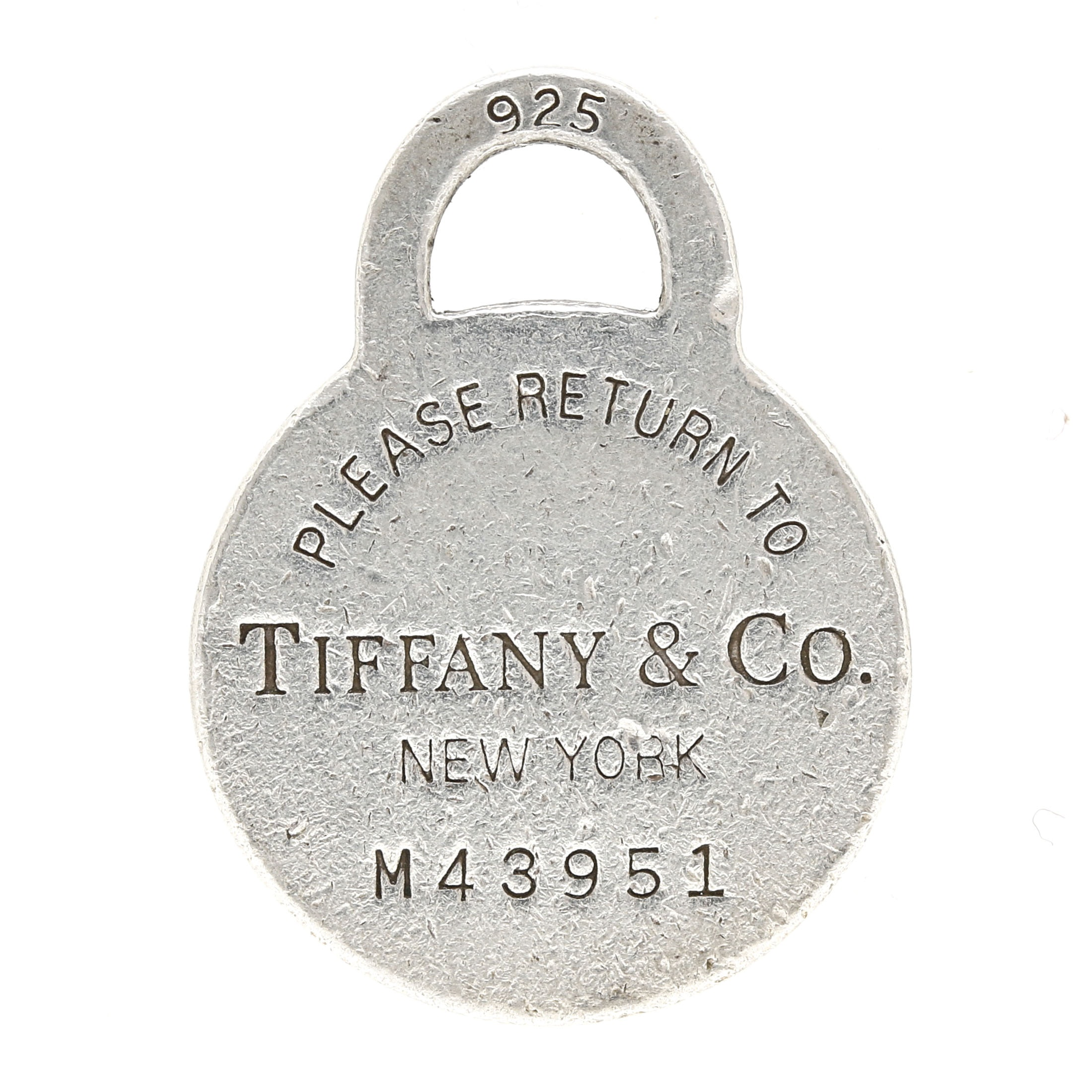 """Tiffany & Co. Sterling Silver """"Please Return To"""" Tag"""