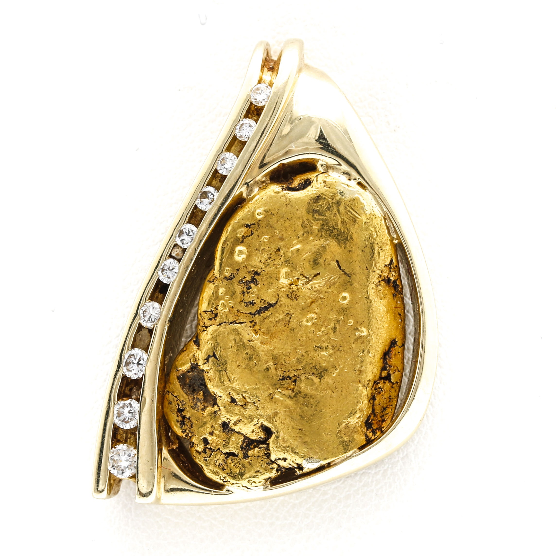 14K Yellow Gold Pendant with 20K Yellow Gold Nugget and Diamonds