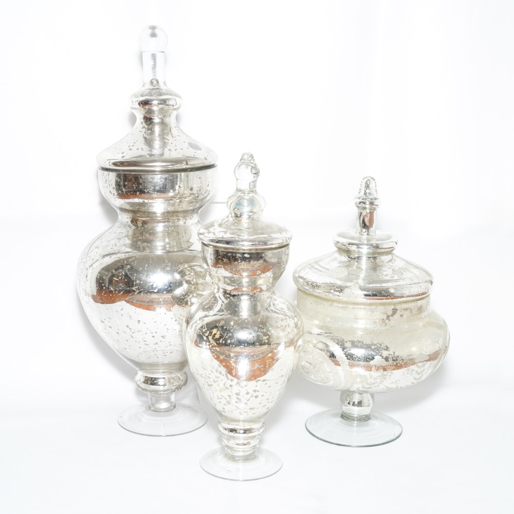 Mercury Glass Lidded Vessels