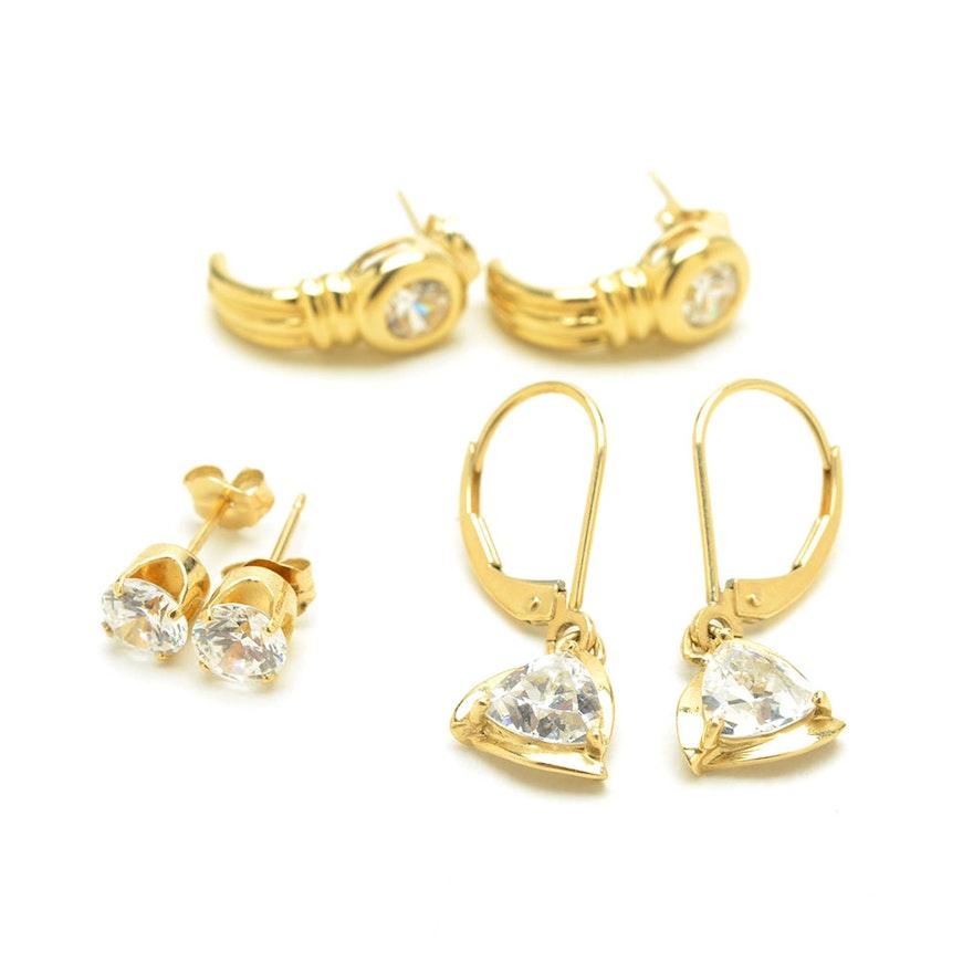 14k Yellow Gold And Cubic Zirconia Diamonique Earrings