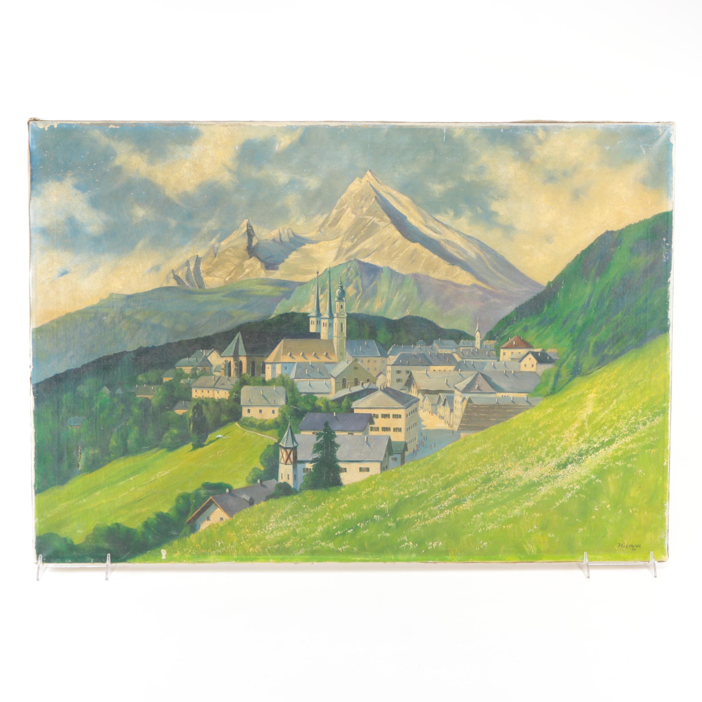 Hohlfeldt Oil Painting on Canvas of Mountainous Landscape