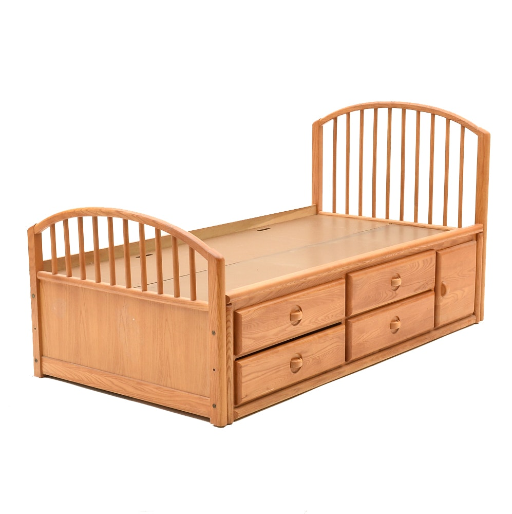 Oak Twin Bed with Storage