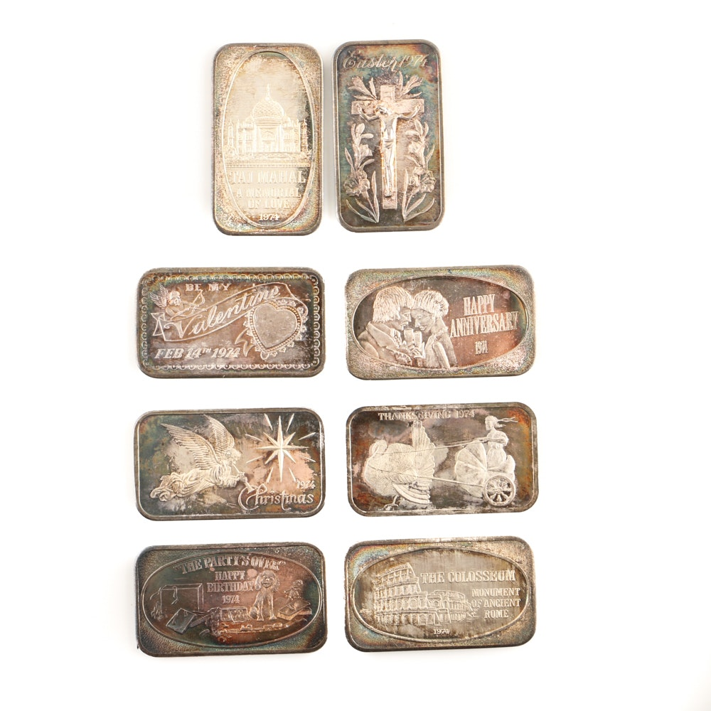 Eight One Troy Ounce Silver Bars