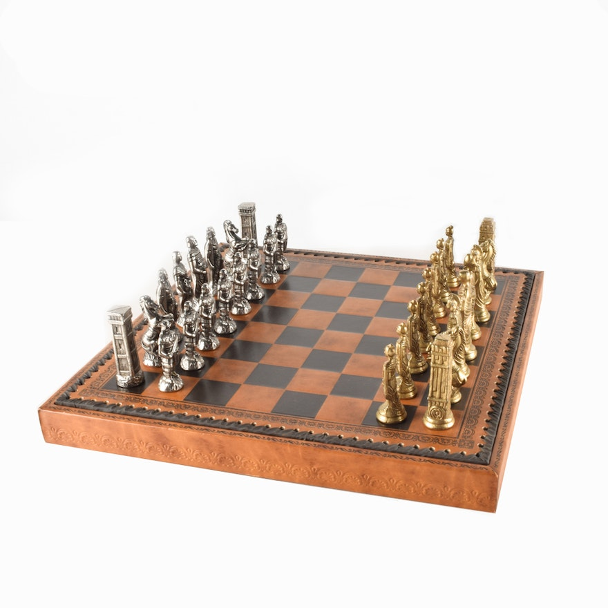 Italian Leather Portable Chess and Checkers Set