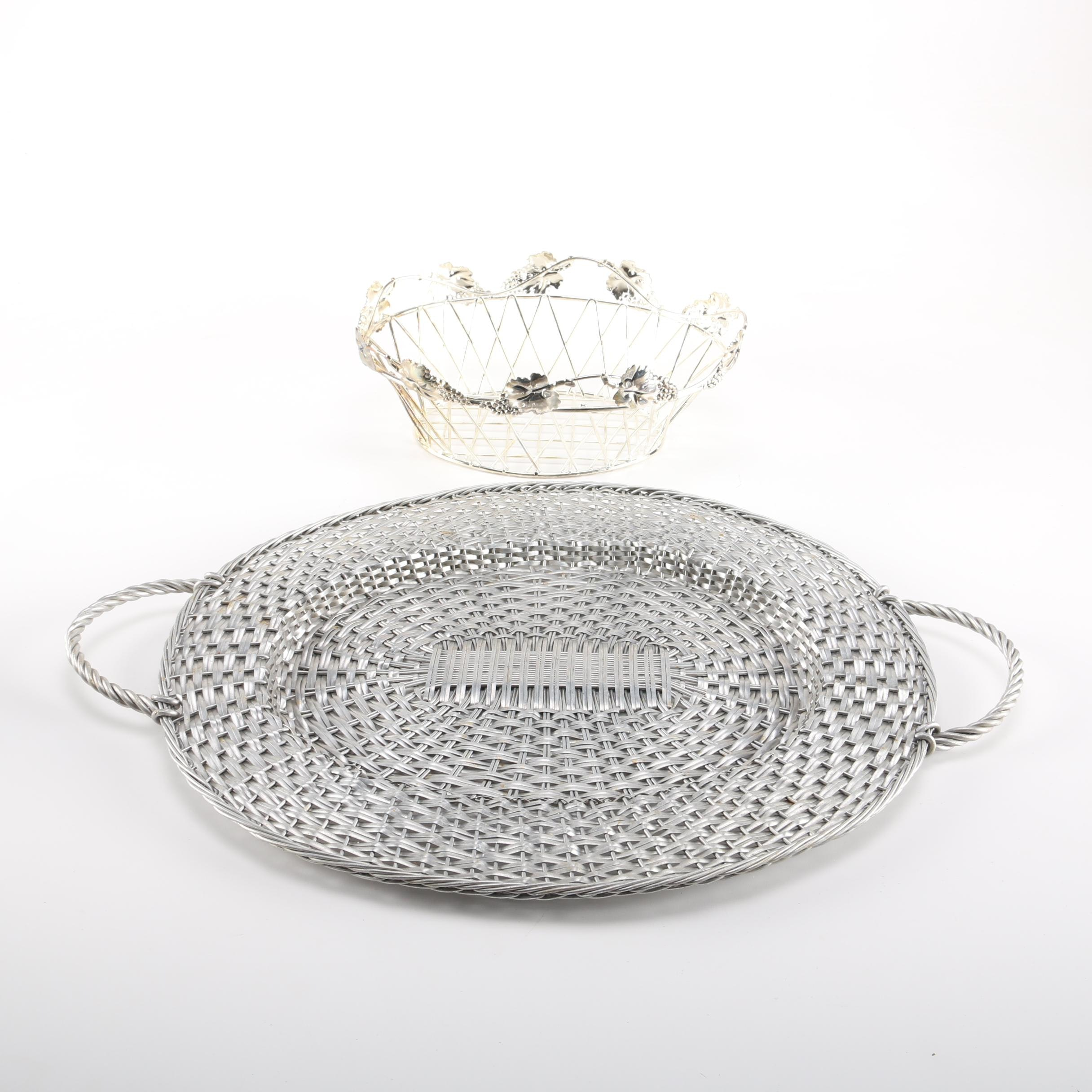 Metal Tray and Bread Basket