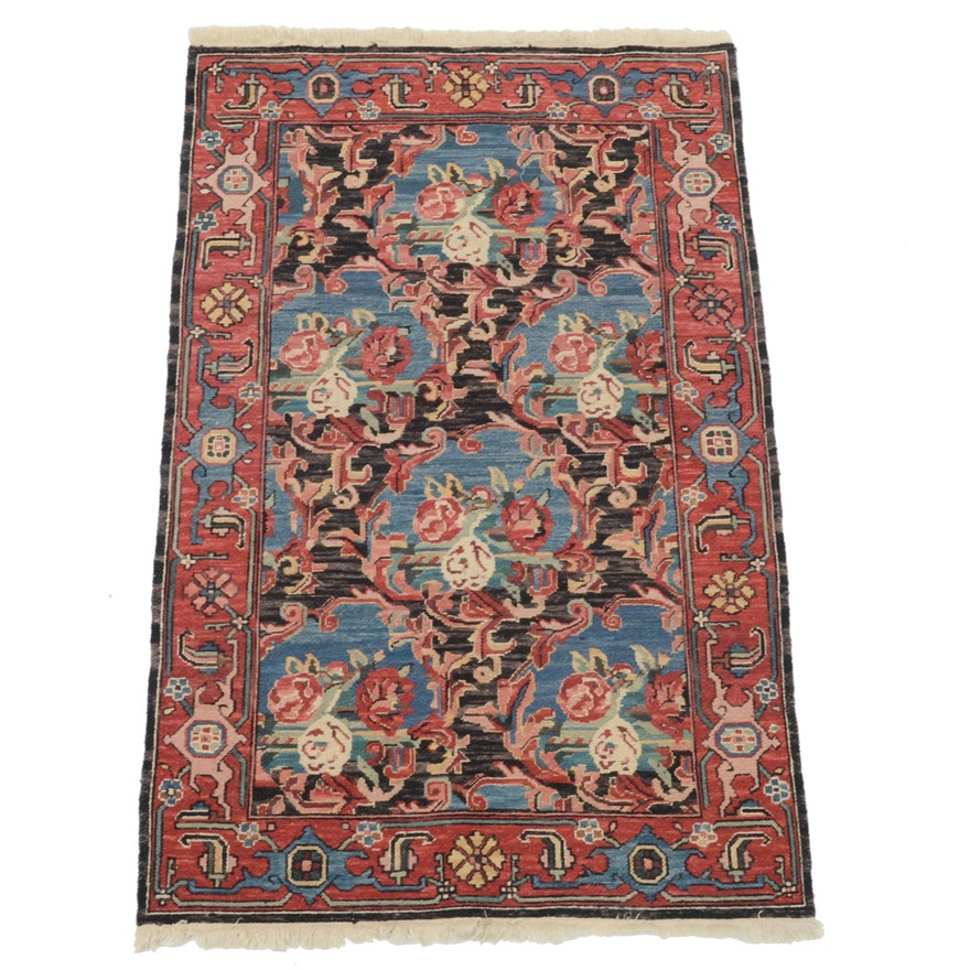 Hand Knotted Indo Persian Obeetee Wool Area Rug Ebth: Handwoven Persian Soumak Floral Area Rug