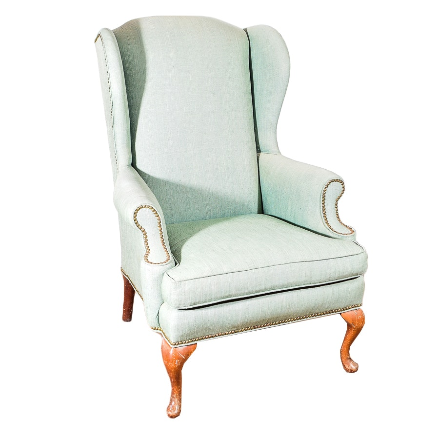 Grey Upholstered Wing Back Armchair