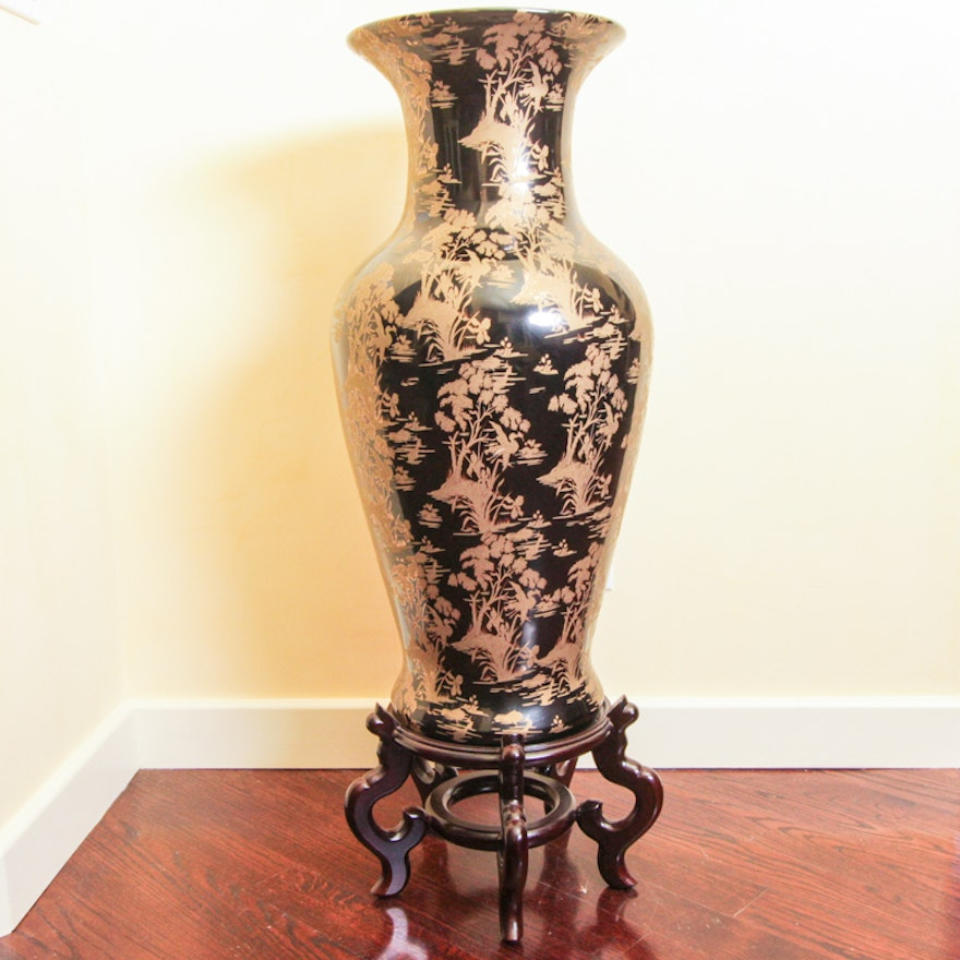 Chinese Black And Gold Urn Vase Ebth