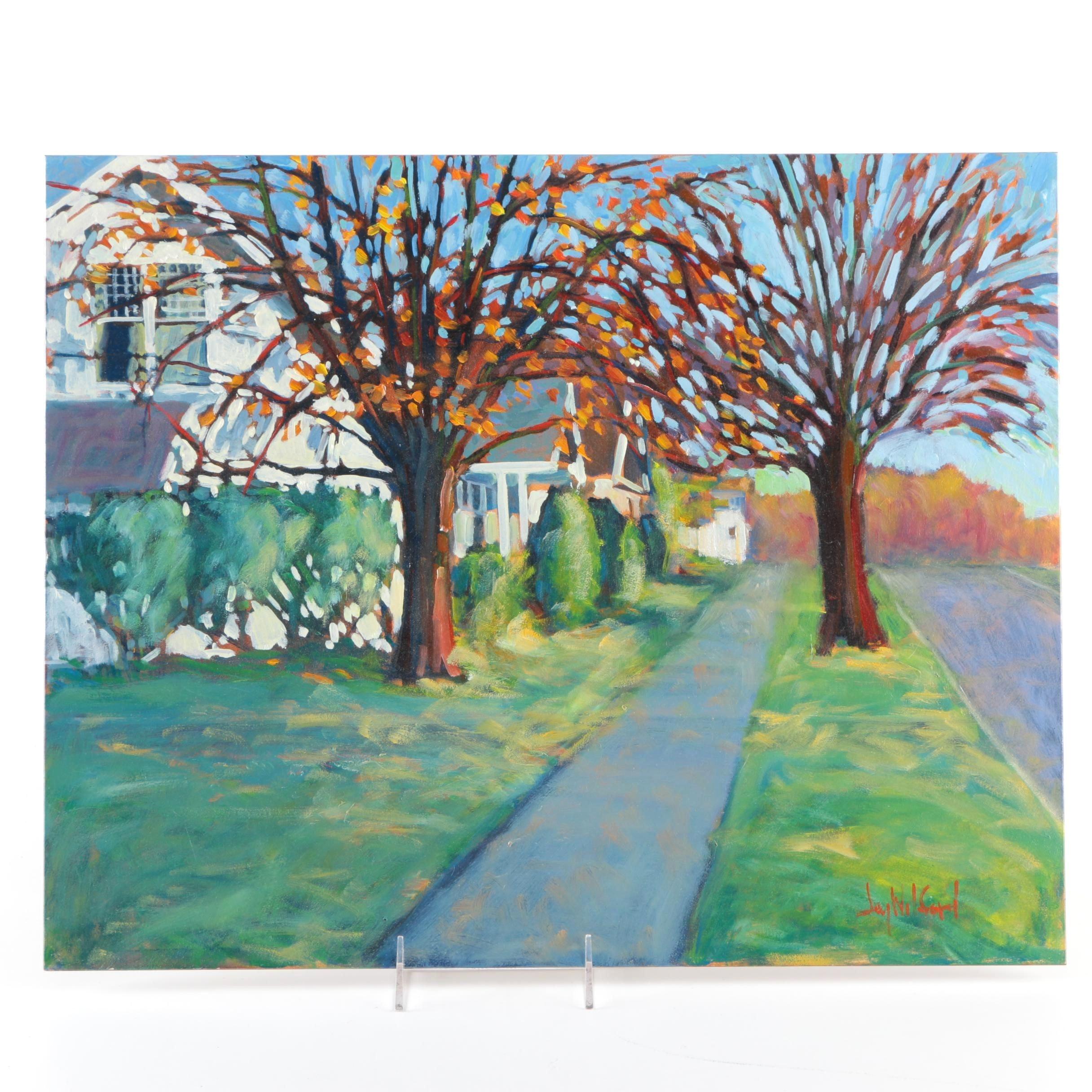 Jay Wilford Oil Painting on Claybord of Suburban Scene