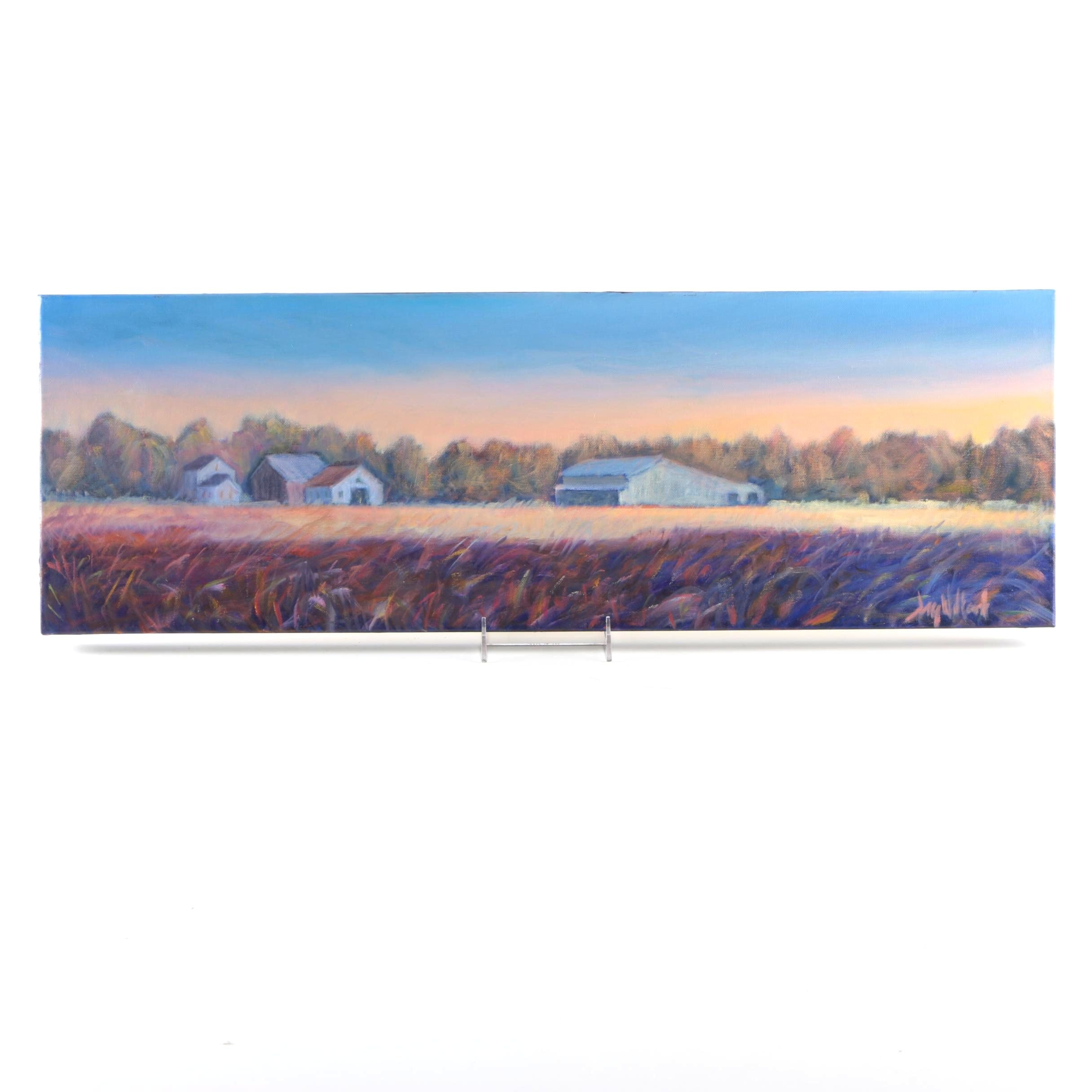 Jay Wilford Oil Painting of a Farm Scene at Dusk
