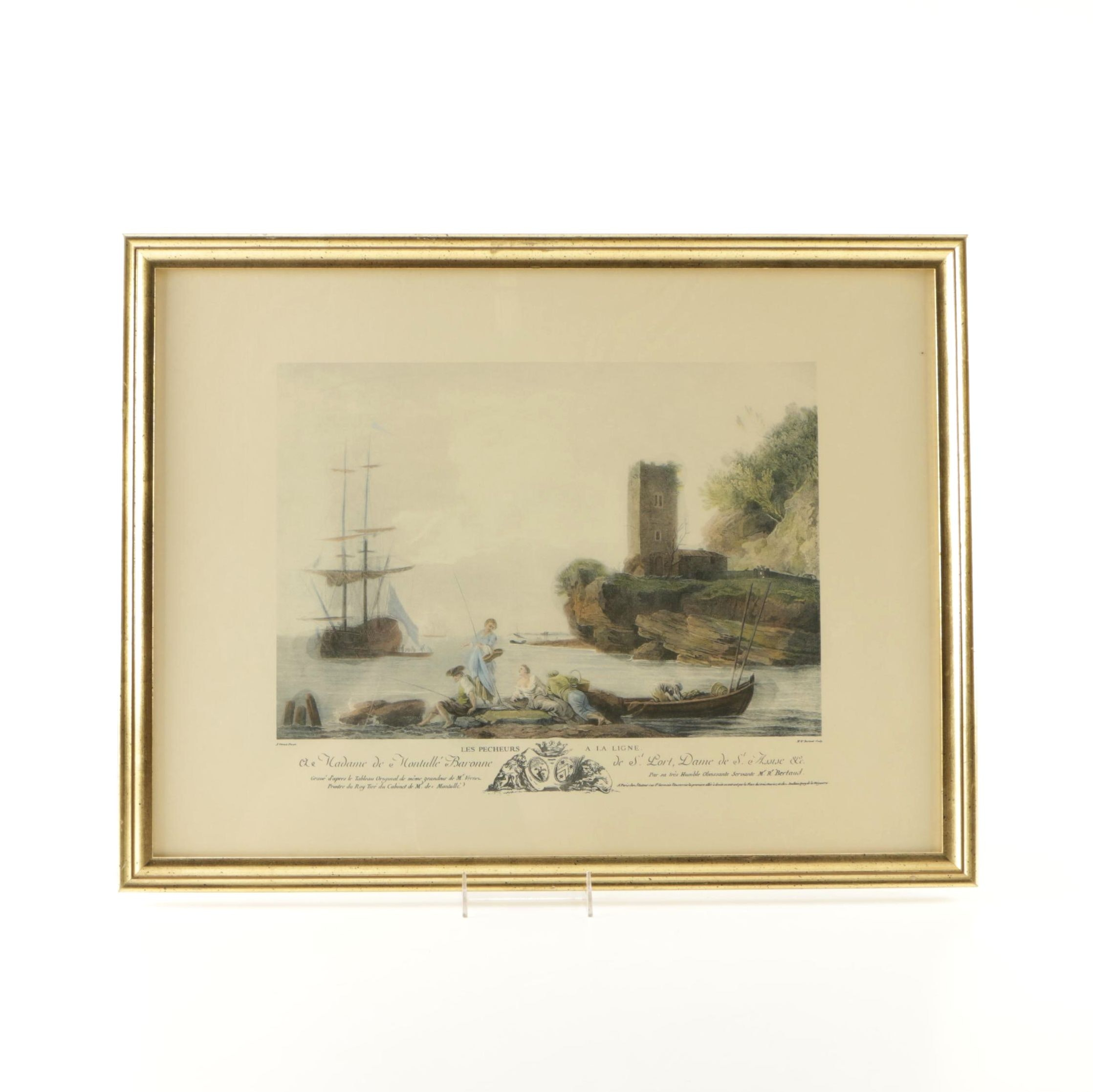 Hand Colored Lithograph After Claude Joseph Vernet Painting