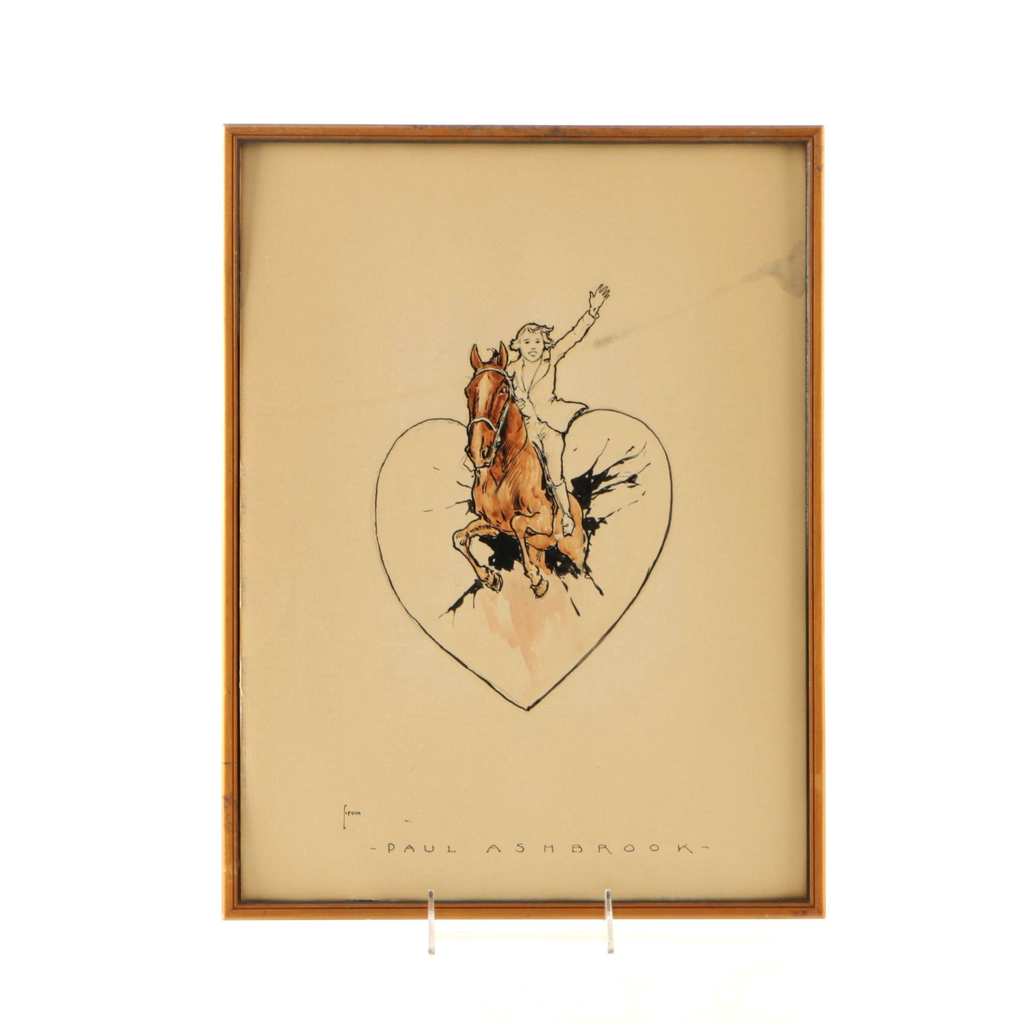 Early 20th Century Paul Ashbrook Ink Drawing With Watercolor