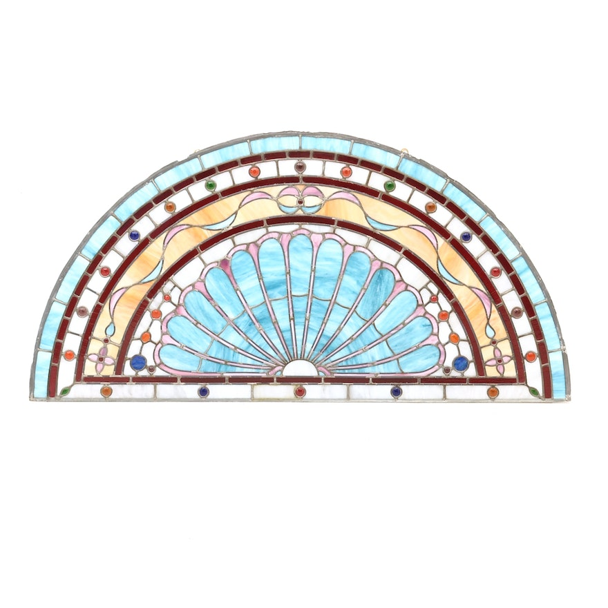 Half Round Stained Glass Window Panel