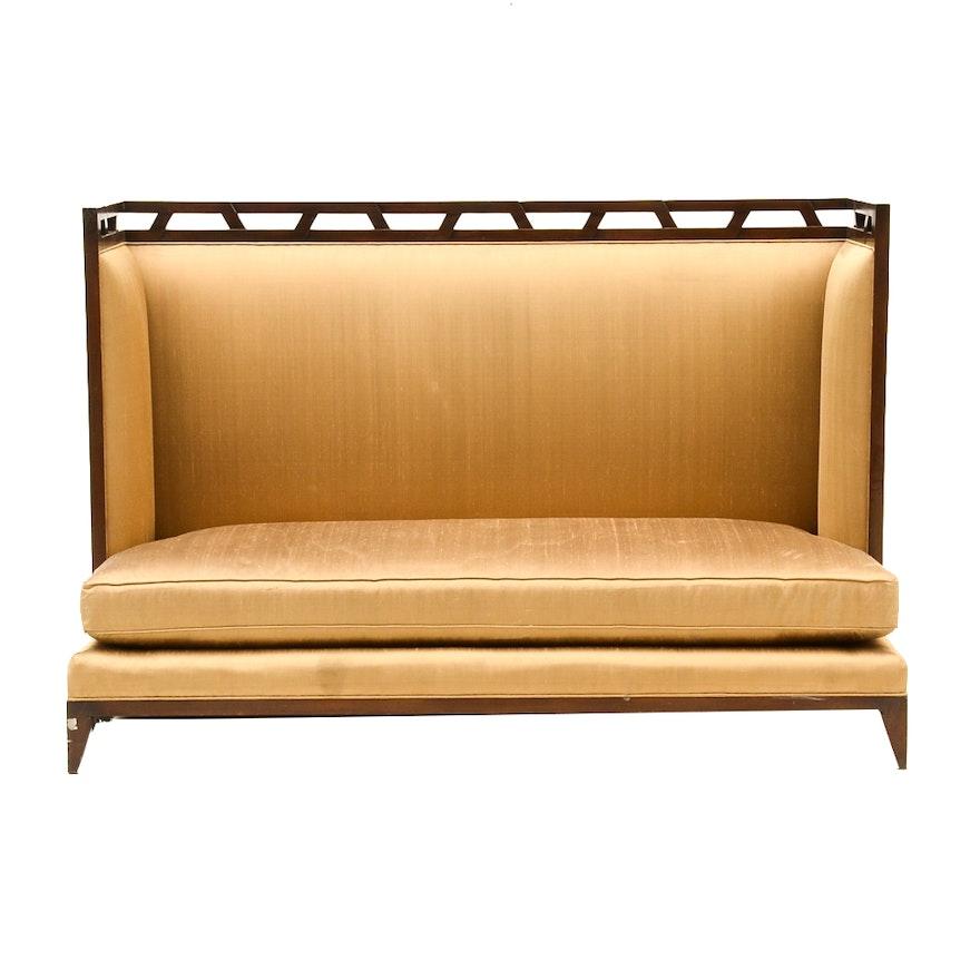 art deco style upholstered banquette ebth. Black Bedroom Furniture Sets. Home Design Ideas