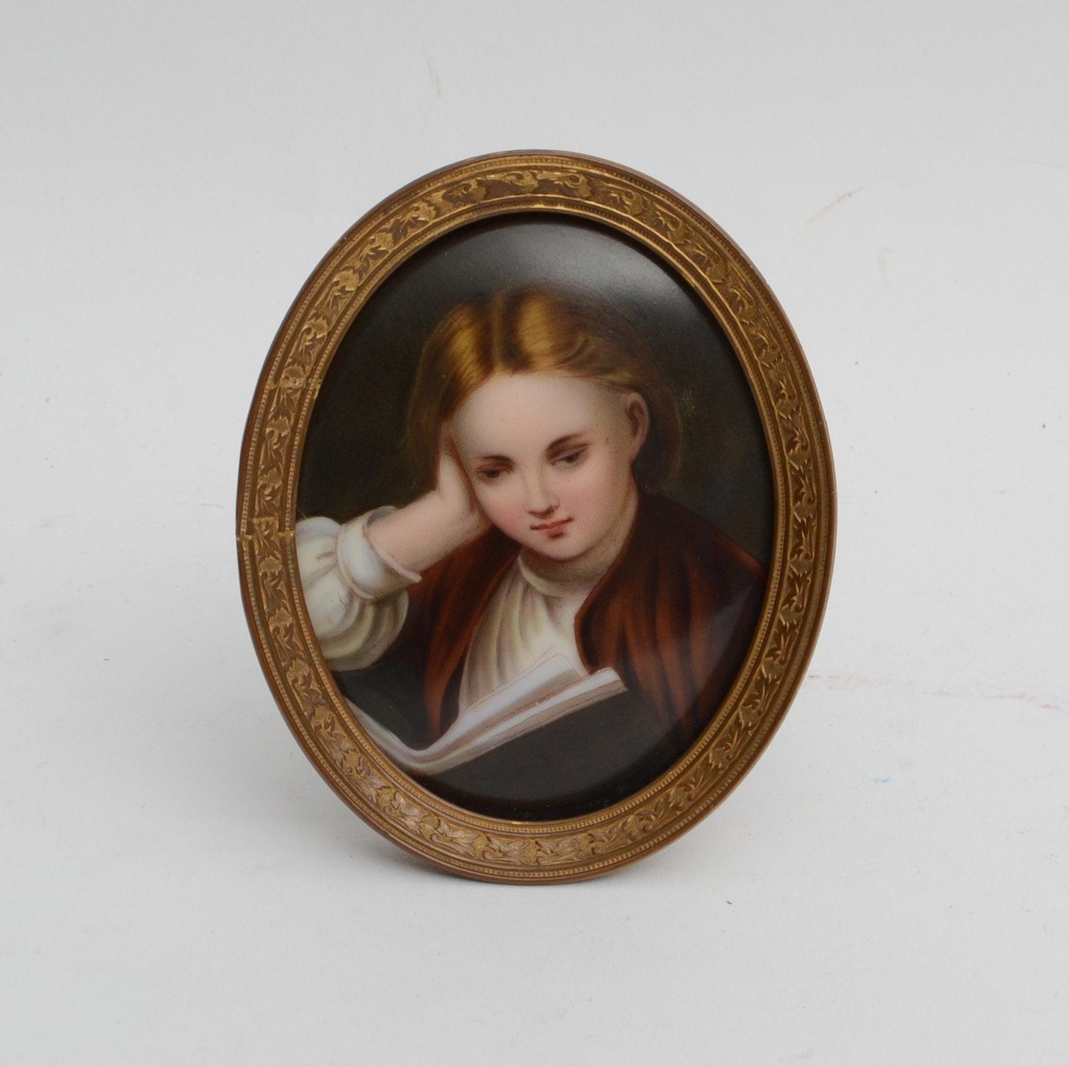 Antique Oil on Enamel Portrait