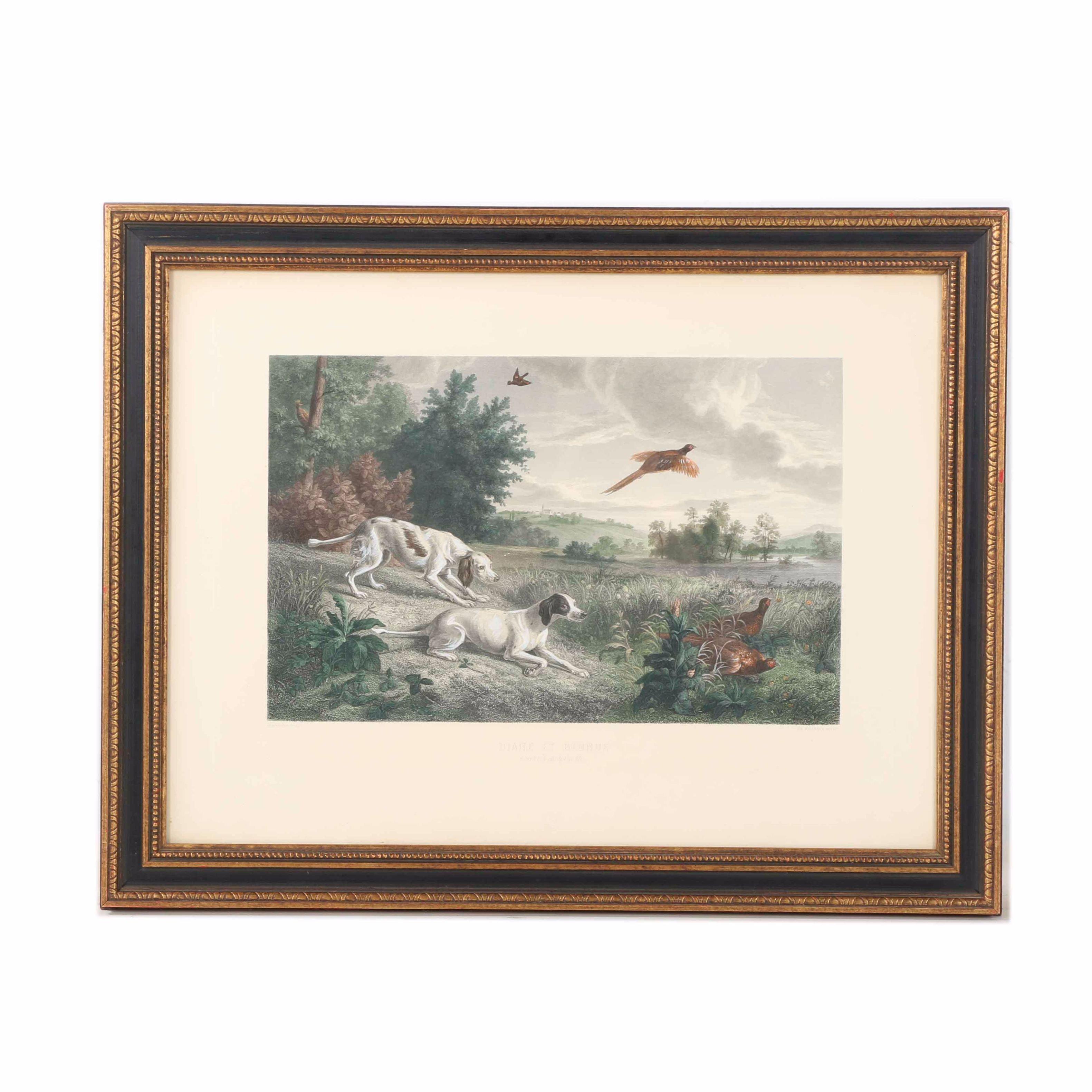 "Hand-Colored Etching After Alexandre-François Desportes ""Louis XIV's Hunting Dogs: Diane et Blonde"""