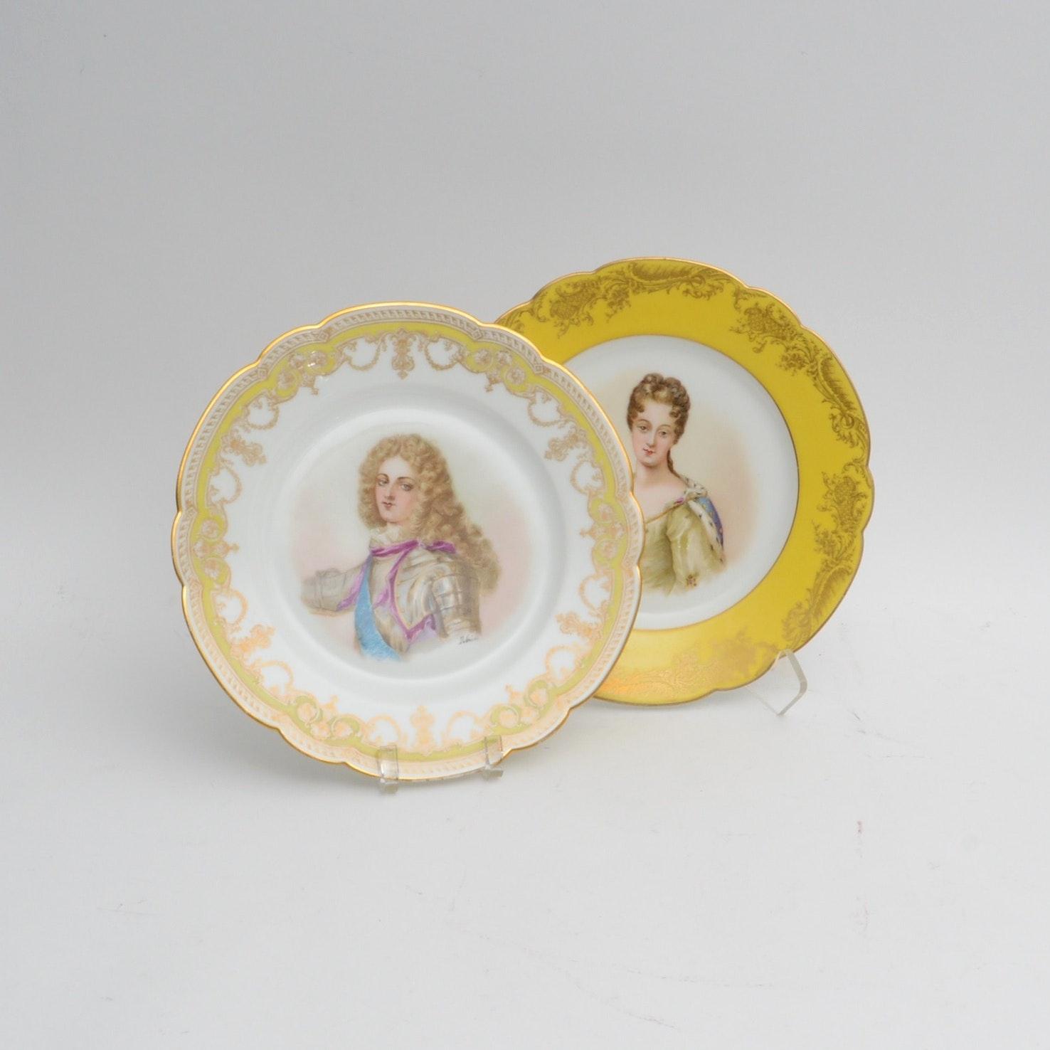 Chateau De St Cloud Hand Painted French Portrait Plates