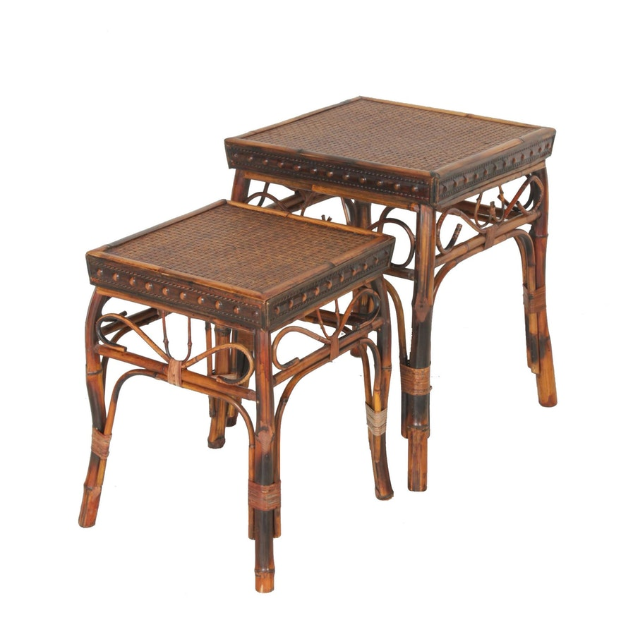 bamboo nesting tables  ebth - bamboo nesting tables