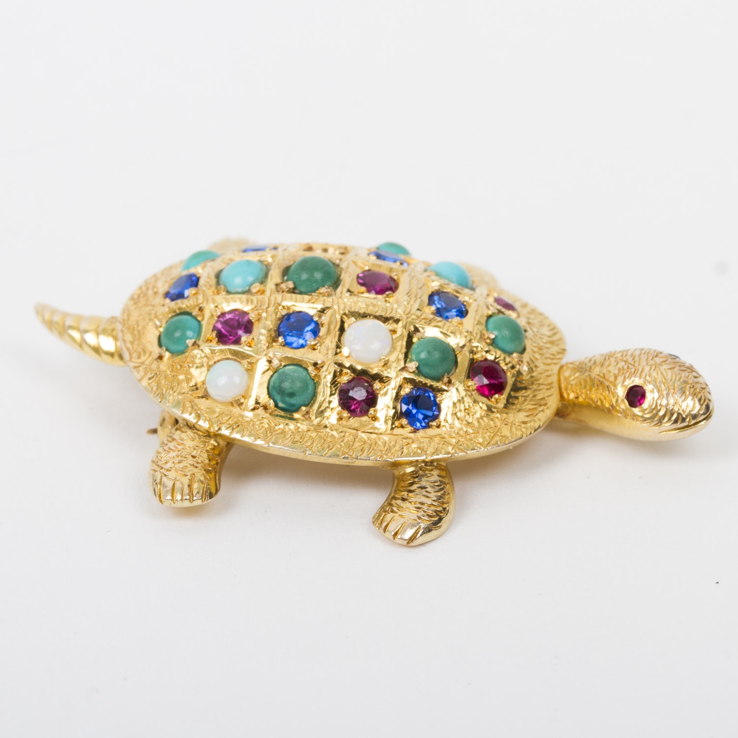 18K Yellow Gold and Multi-Stone Turtle Brooch