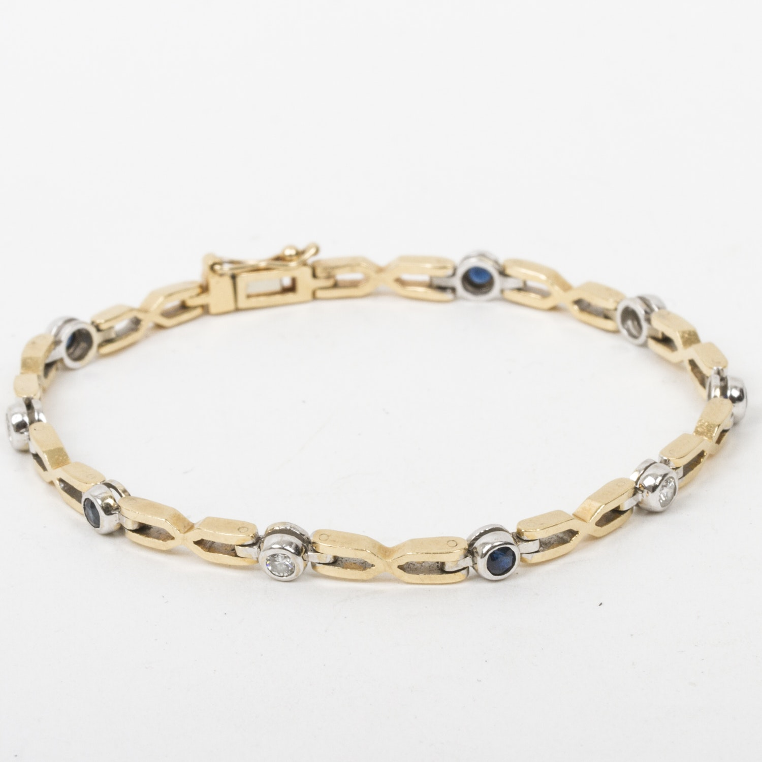 18K Two-Tone Gold, Diamond, and Sapphire Link Bracelet