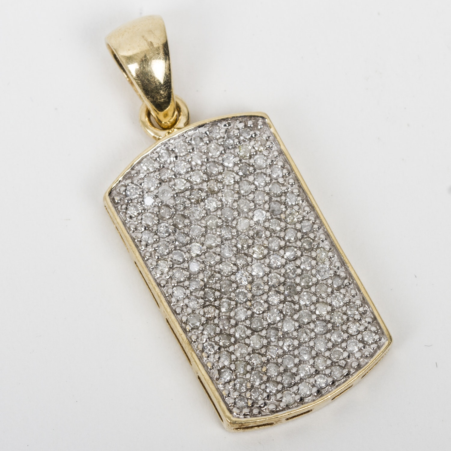 14K Yellow Gold and 1.16 CTW Pavé Diamond Dog Tag Pendant