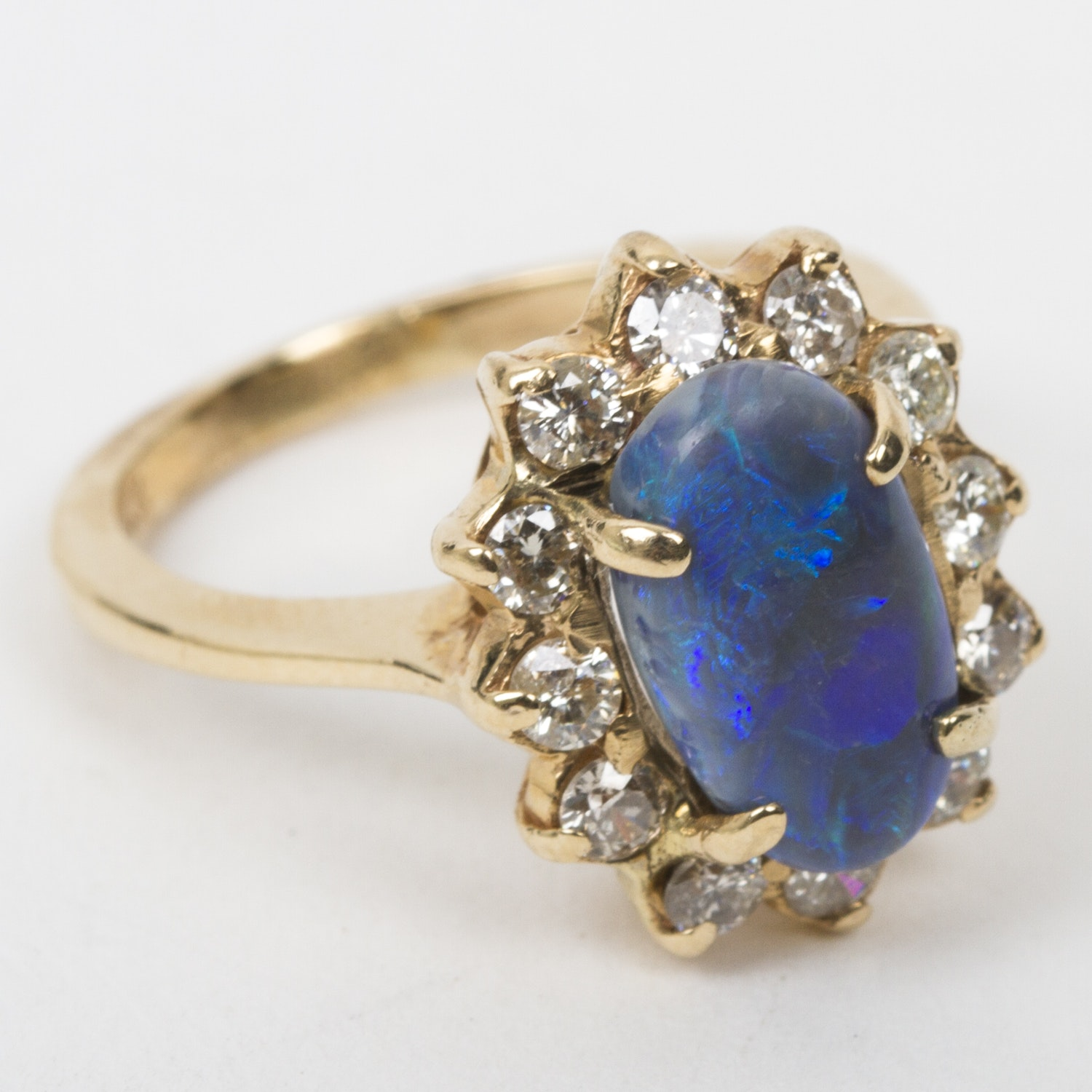 14K Yellow Gold, Gray Opal, and Diamond Halo Ring