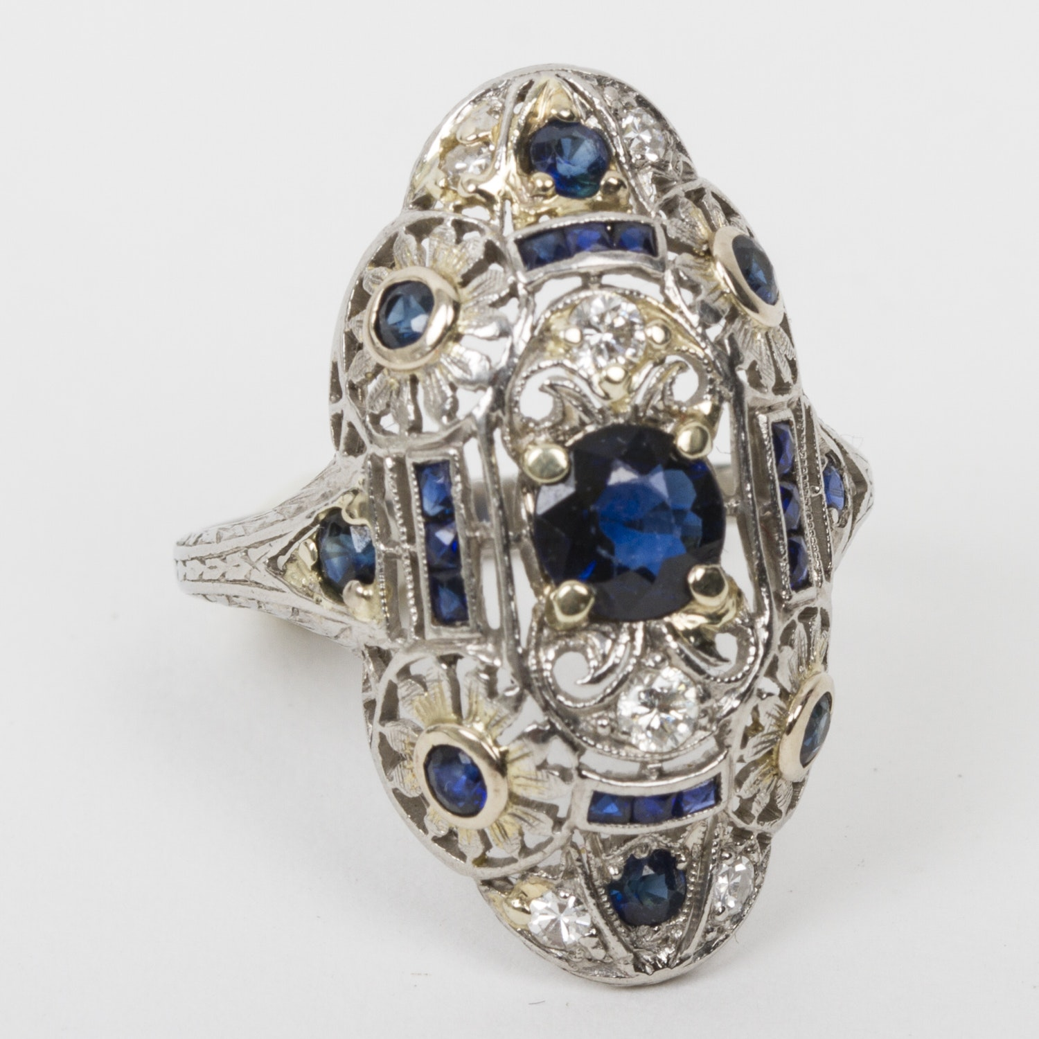 Art Deco Platinum, Sapphire, and Diamond Navette Ring