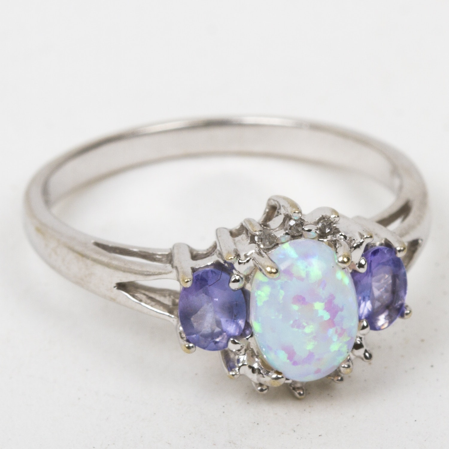 10K White Gold, Synthetic Opal, Diamond, and Iolite Ring