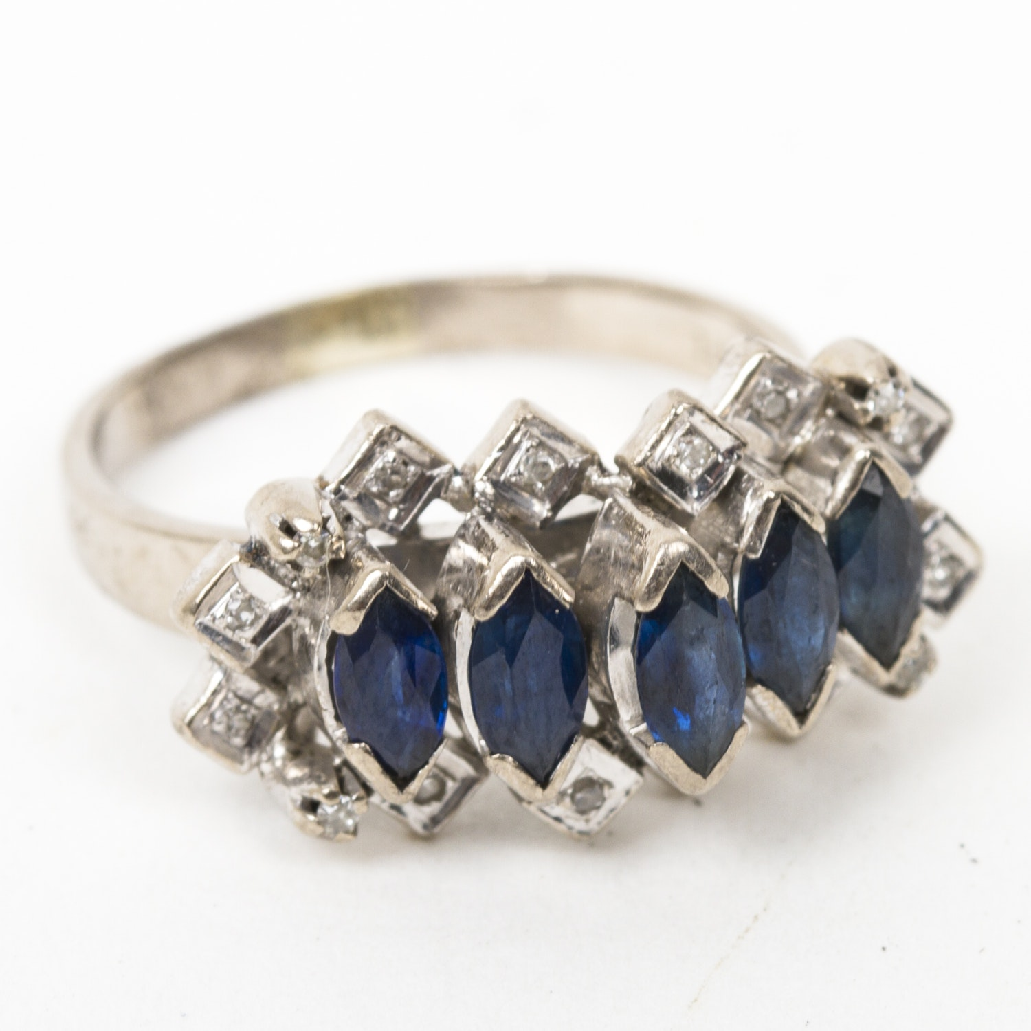 14K White Gold, Sapphire, and Diamond Cluster Ring