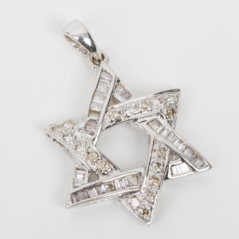 18K White Gold and Diamond Star of David Pendant