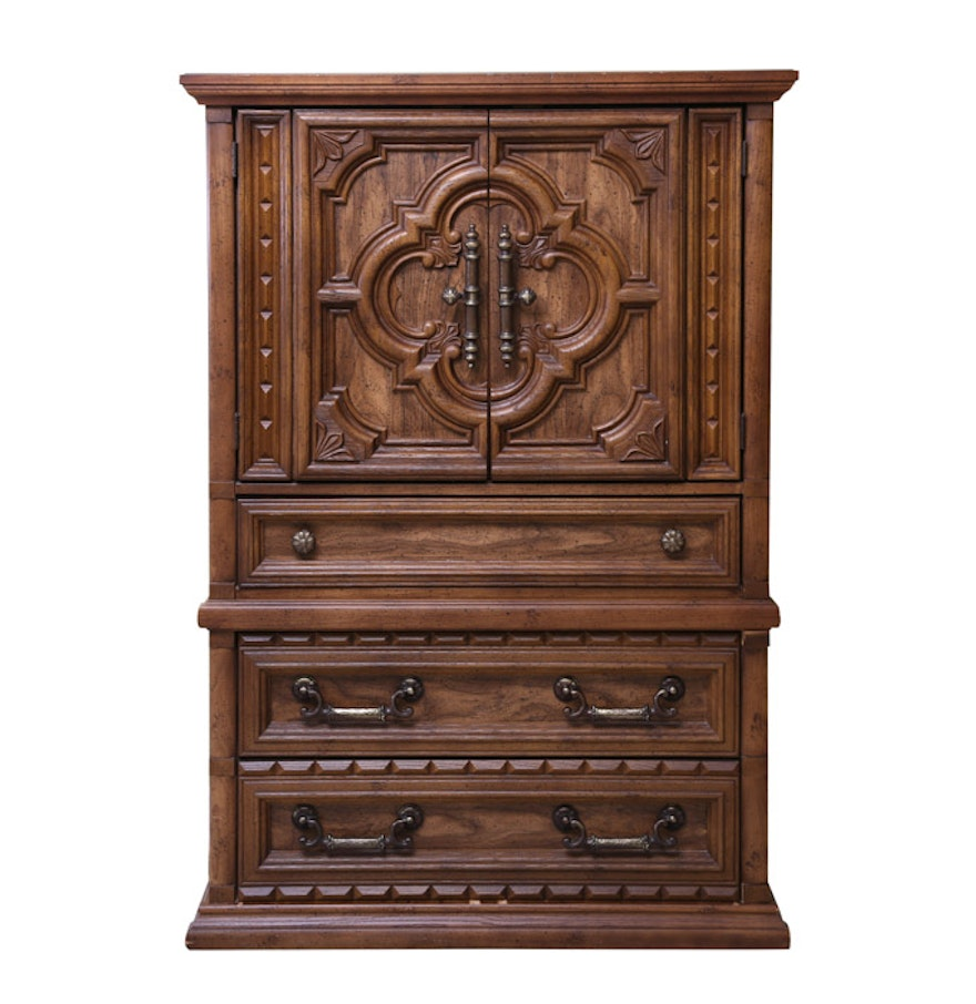 Vintage Provincial Style Armoire by Bassett Furniture : EBTH