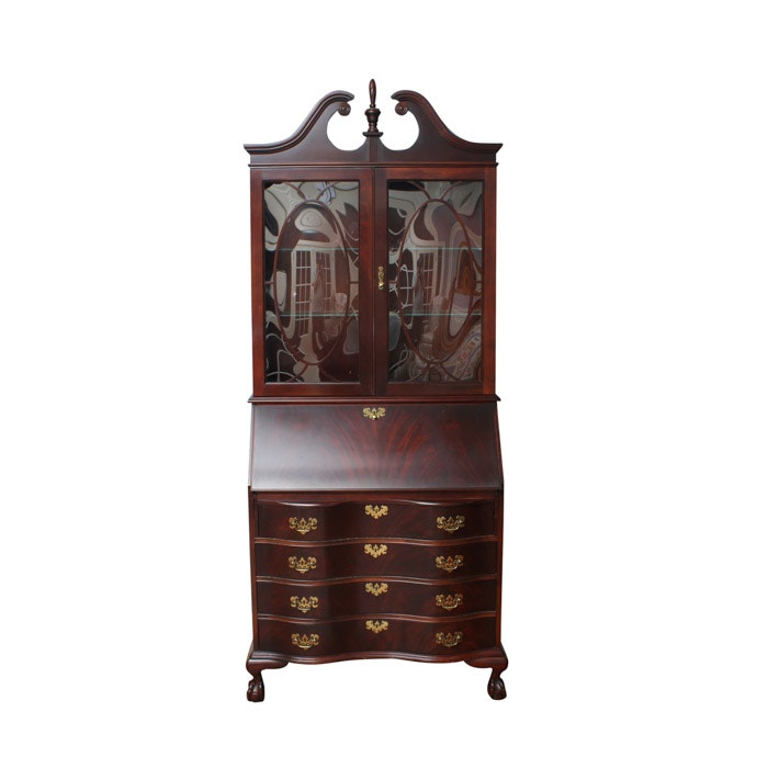 Chippendale Style Mahogany Secretary With Bookcase