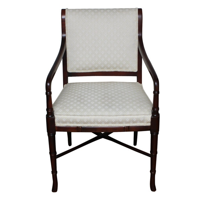 Wood and Upholstered Armchair