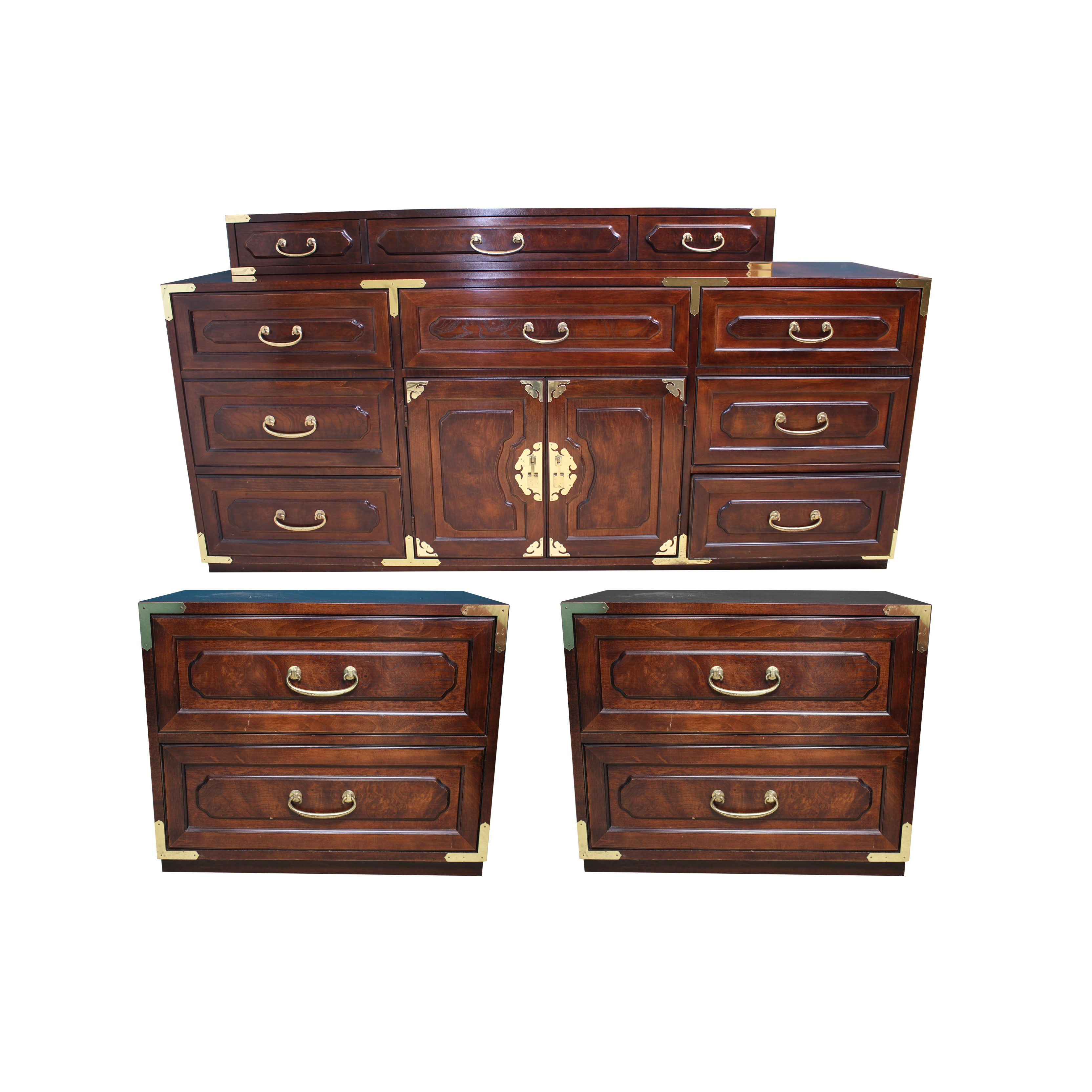 Hollywood Regency Style Dresser and Pair of Nightstands by Bernhardt