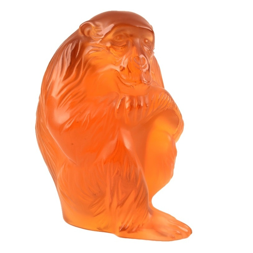 "Lalique France Crystal Chimpanzee ""Chita"" in Amber, Signed"
