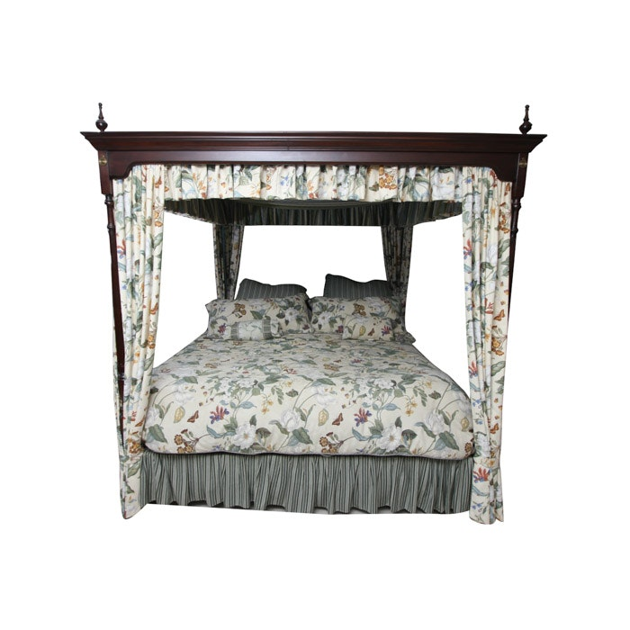 Contemporary Queen Anne Style Canopy Bed Frame